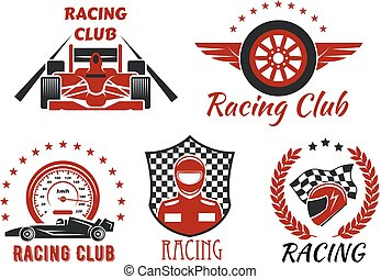 Racing club, motorsport competition icons design
