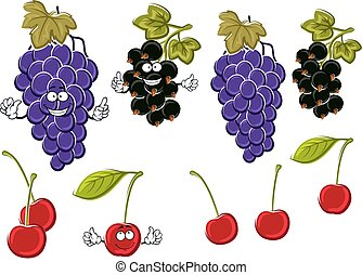 Cartoon grapes, cherries, black currants fruits - Vine of...