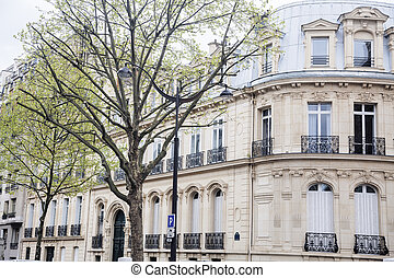 houses on french streets of Paris. citylife concept. regular...