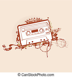 abstract background - Cassette Tape Stencil . Vector...
