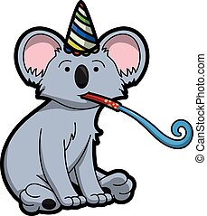 koala using birthday party costume