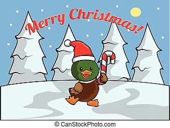 duck Merry christmass banner - Merry christmass banner with...