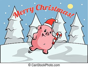 pig Merry christmass banner - Merry christmass banner with...