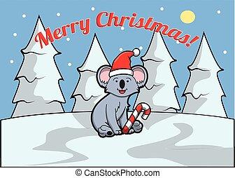 Koala Merry christmass banner - Merry christmass banner with...
