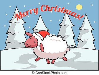 sheep Merry christmass banner - Merry christmass banner with...