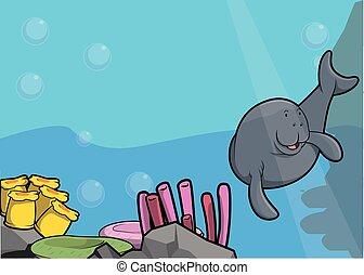Sea manatee illustration - Sea manatee illustration under...
