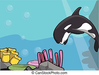 Sea orca illustration under water scenery