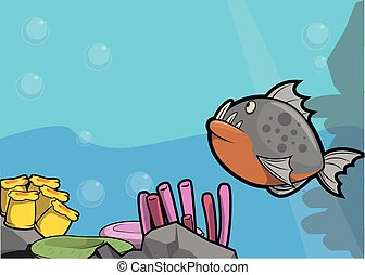 Piranha illustration under water scenery