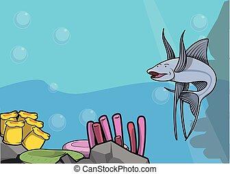 Tripod fish illustration under water scenery