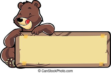 Honey bear illustration with blank banner