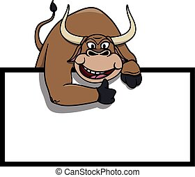 Bull illustration with blank banner