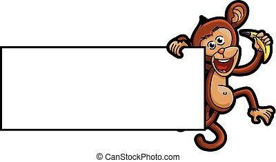 Monkey illustration with blank banner
