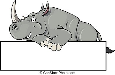 Rhinoceros illustration with blank banner