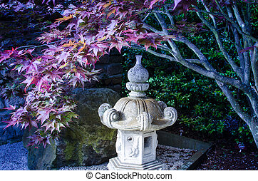 Japanese Garden - Japanese stone lantern and red-maple tree...