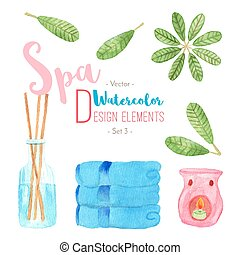 Watercolor Spa design elements on white background - Set of...