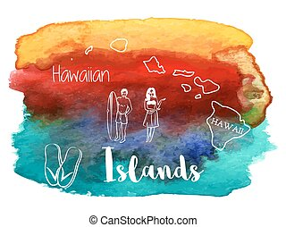 Watercolor Hawaiian, tropical graphic design - Man with surf...