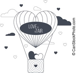 Love is in the air concept. Heart shaped balloon. Light...