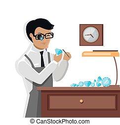 Jeweler Man Examines the Diamond