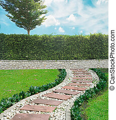 Grown tree with brick wall and Stone walkway