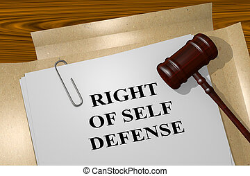 Right of Self Defense concept - 3D illustration of RIGHT OF...