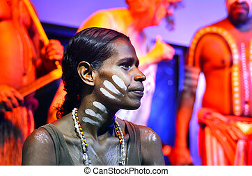 Yirrganydji Aboriginal woman and men in Queensland Australia...