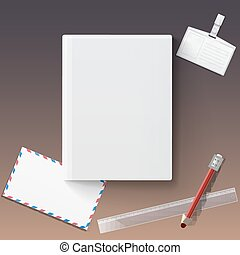 Blank book cover with stationery