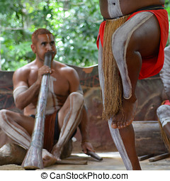 Yirrganydji Aboriginal men playand dance Aboriginal music...