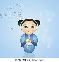 kokeshi doll - illustration of kokeshi doll