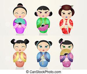 Japanese kokeshi dolls - illustration of Japanese kokeshi...