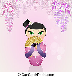 Japanese kokeshi doll - illustration of Japanese kokeshi...