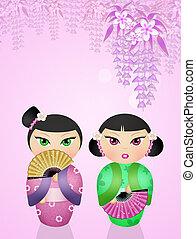 Ilustração, de, kokeshi, boneca,