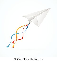 Paper Airplain White. Vector