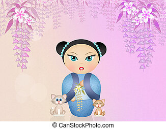 cute kokeshi doll - illustration of cute kokeshi doll