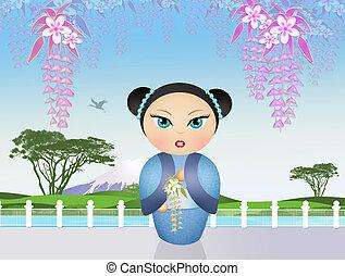 kokeshi, boneca, em, japoneses, paisagem,