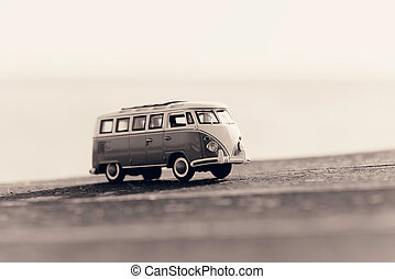 Traveling vintage camper van Macro photo Sepia toned image...