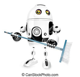Robot cleaner with mop. Isolated over white. 3D illustration. Contains clipping path