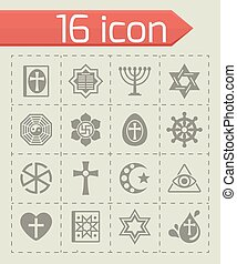 Vector Religion icon set on grey background