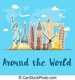 World landmarks sticker icons set