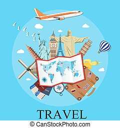 Travel by plane . - Travel by plane. World Travel. Planning...