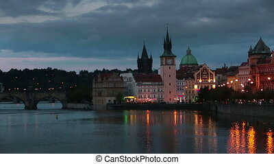 Beautiful Cityscape of Prague at night with Charles Bridge...