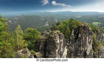 Bastei rock formation in Saxon Switzerland National Park,...