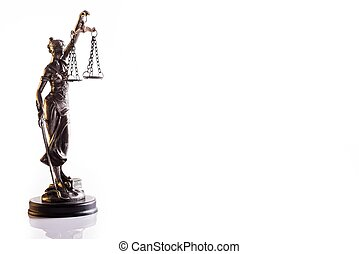 Statuette of the goddess of justice Themis with scales -...