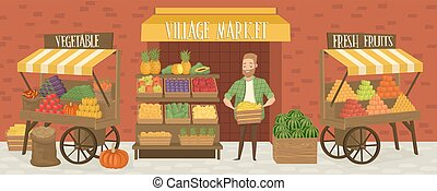 Farmers market. Local farmer shopkeeper. Seller fresh...