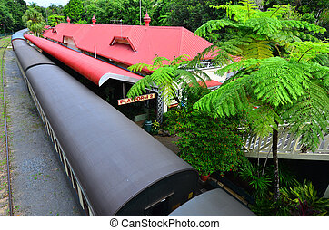 Aerial view of Kuranda Train Station in Queenland Australia...