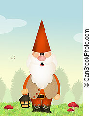 gnome - illustration of gnome in the agrden