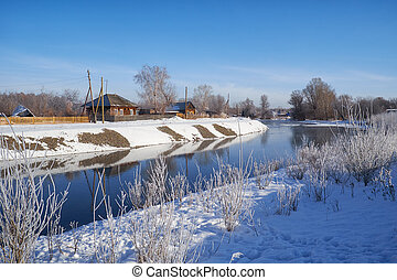 Freezing river Talitsa in winter, Altai, Siberia, Russia