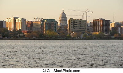 Downtown Urban Skyine Madison Wisconsin Capital City Lake...