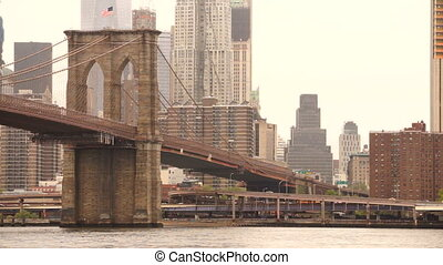 New York City Brooklyn Bridge East RiverManhatten Skyline -...