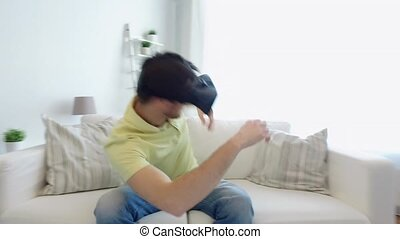 man in virtual reality headset play - 3d technology,...