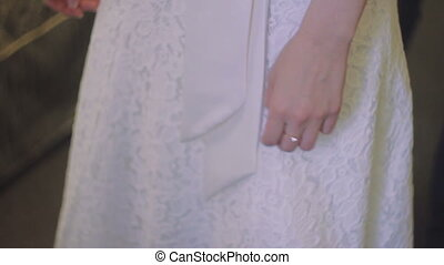 White Wedding Dress With Lace on The Bride